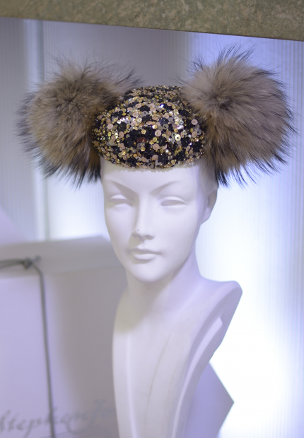 Stephen Jones Millinery Autumn Winter 2017 Christobal Balenciaga Matador pillbox in embroidery and finn racoon pom poms 10 Christobal Balenciaga