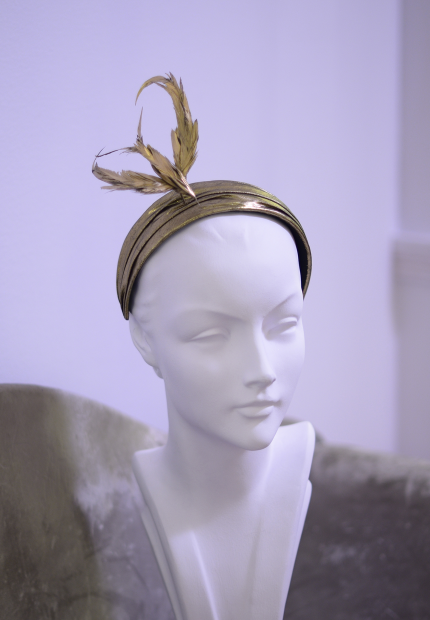 Stephen Jones Millinery Autumn Winter 2017 Yves Saint Laurent Headband in lame with gilded bird 12 Yves Saint Laurent