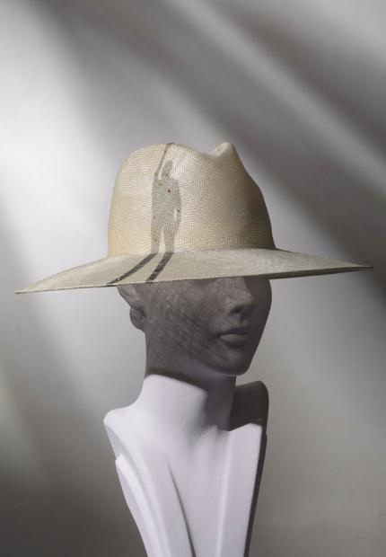Stephen Jones Spring Summer 2017 Shade collection straw fedora shadow tulle detail