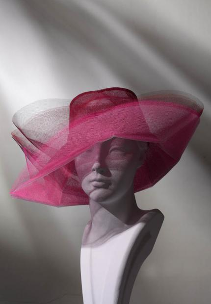 Stephen Jones Spring Summer 2017 Shade collection tulle pink sunset sun hat