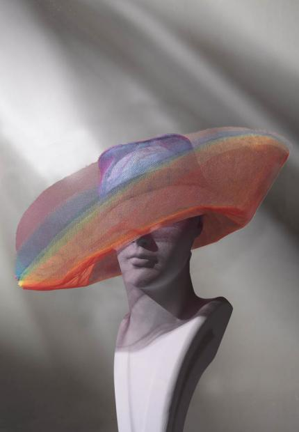 Stephen Jones Spring Summer 2017 Shade collection tulle rainbow sun hat