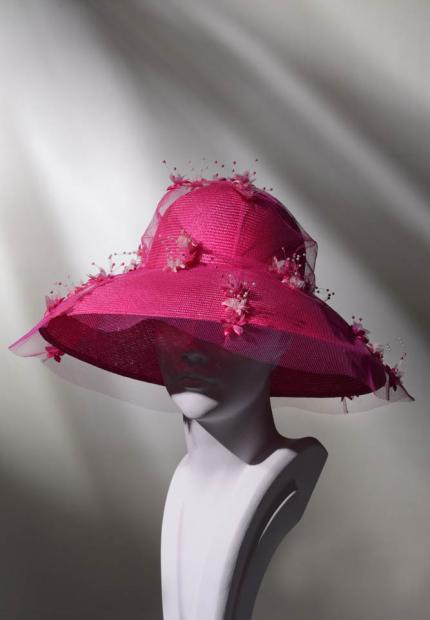 Stephen Jones Spring Summer 2017 Shade collection pink flower tulle hat