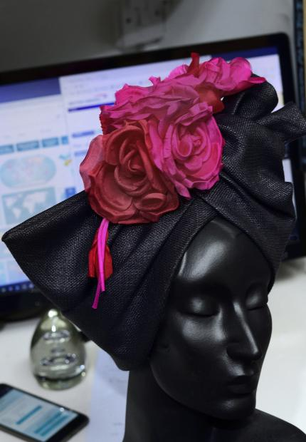 Stephen Jones Millinery Spring Summer 2018 Hats Lagos turban with floral pin