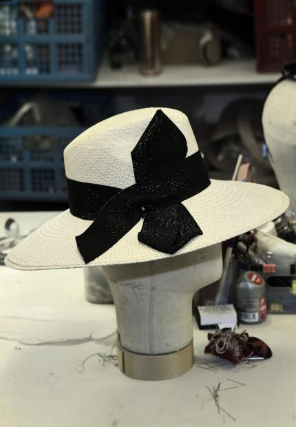 Stephen Jones Millinery Spring Summer 2018 Hats Trim lurex bow large brim trilby