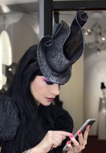 Stephen Jones Millinery Spring Summer 2018 Hats Diva curled sparkle Top Hat